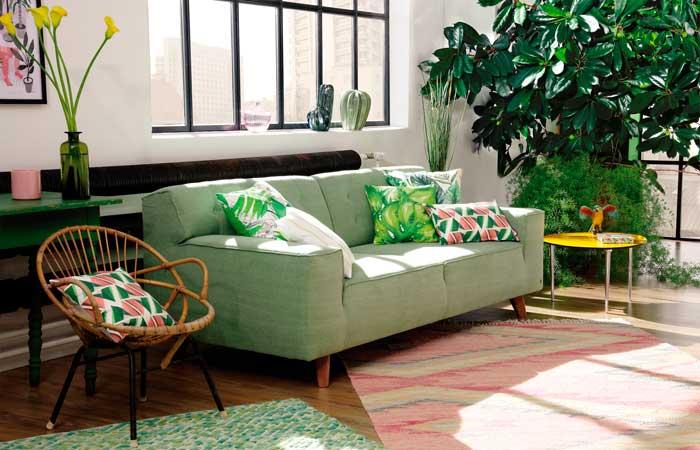 Un salón decorado al estilo tropical